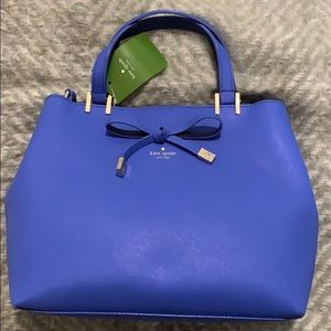 "Brand new blue Kate Spade purse. Approx. 12""x8""."